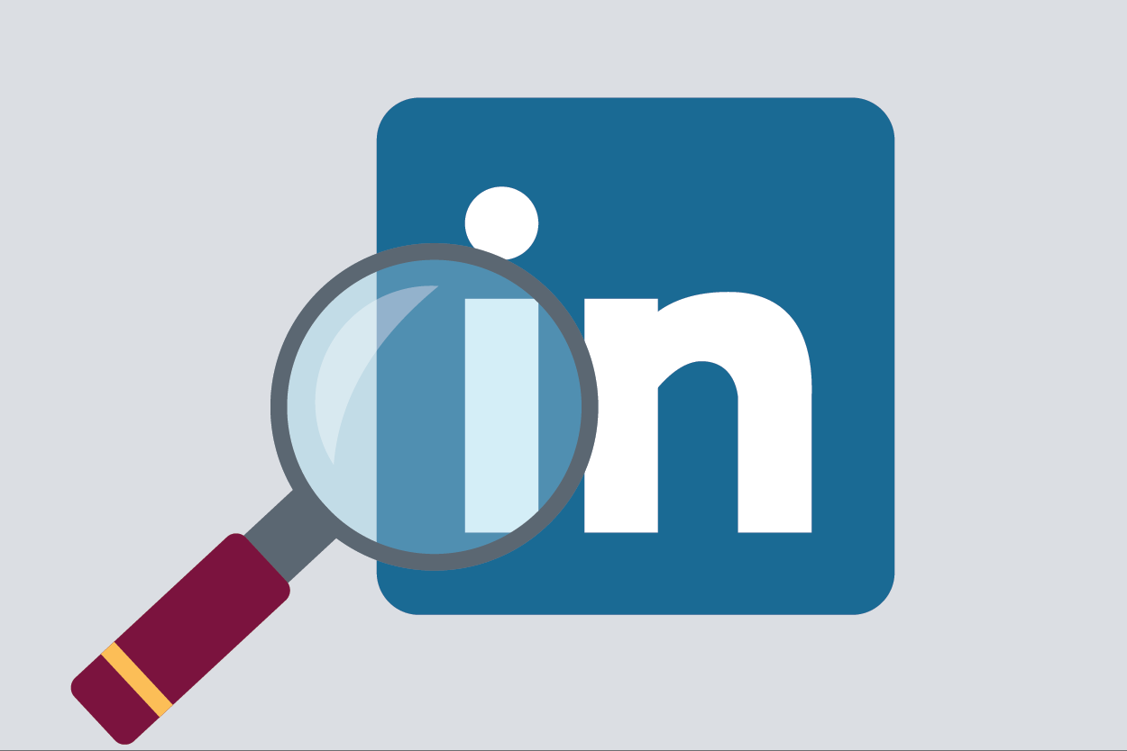 Graphic of the LinkedIn logo and a magnifying glass